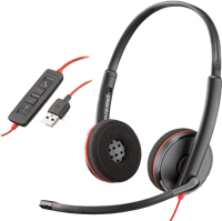 Plantronics Auriculares estéreo Poly Blackwire C3220